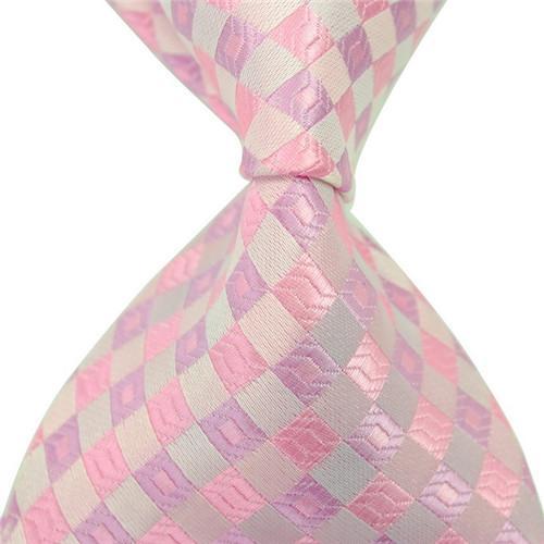 8 스타일 뉴 클래식 스트라이프 남자 핑크 넥타이 자카드 짠 100 % 실크 공식 비즈니스 넥타이 선물 결혼식 액세서리 무료 배송