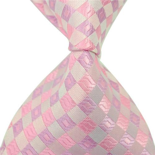 8 Styles New Classic Striped Men Pink Neckties Jacquard Woven 100% Silk Formal Business Neckties for Gift Wedding Accessories