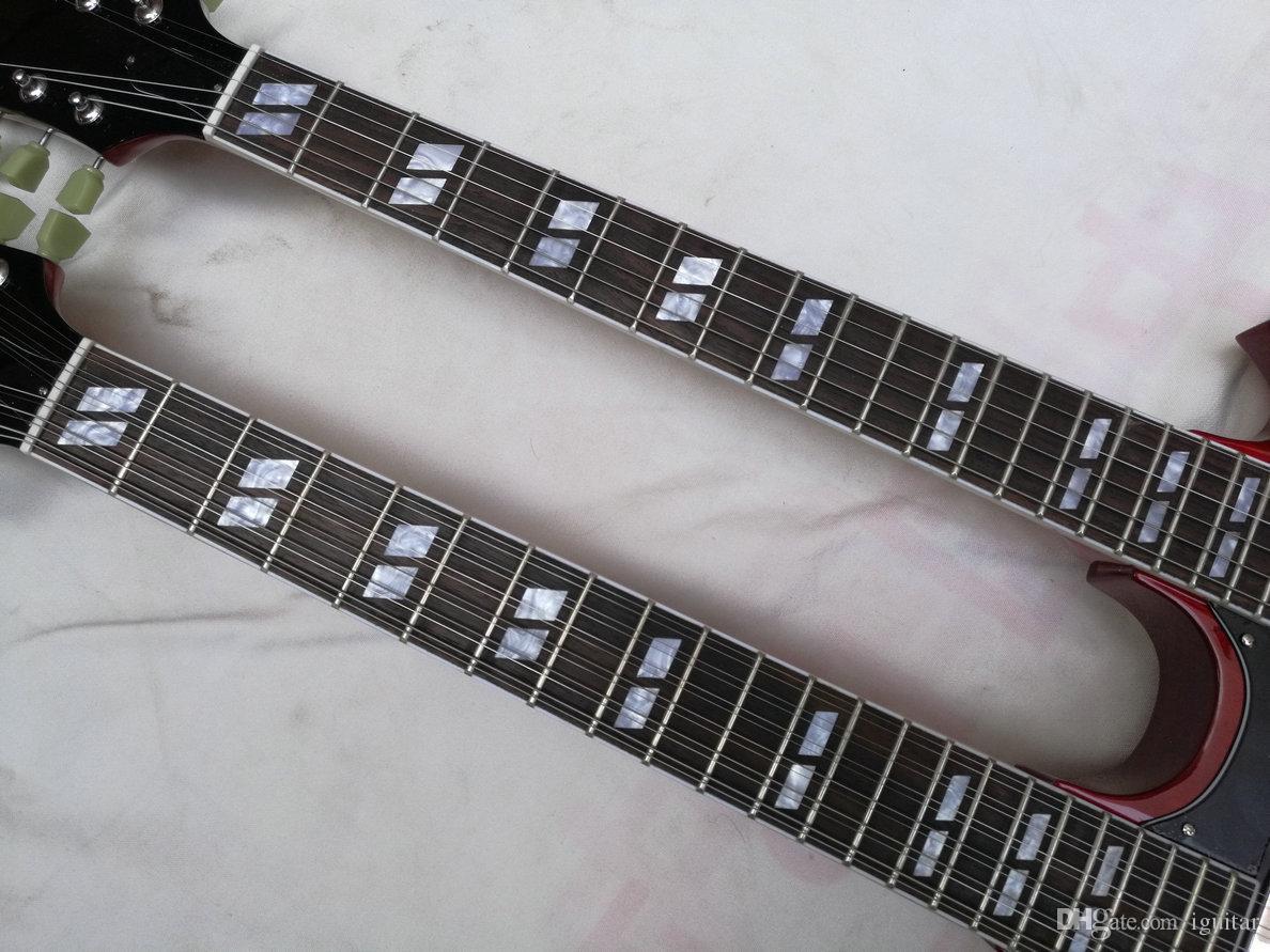 1275 Double Necks Elektro Gitar Maun Şarap Kırmızı