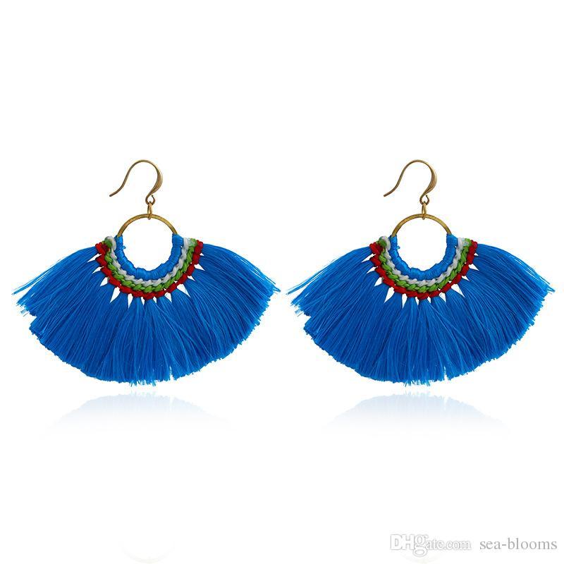 Lady Moda Sıcak Saçaklı Bildirimi Küpe Kadınlar Için Kadın Düğün Hediyeleri Boho Püskül Bırak Dangle Küpe Takı 13 Renkler B658L