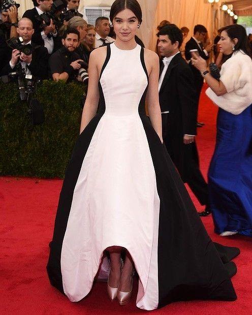 Golden Globe Hailee Steinfeld Celebrity Evening Dresses 2019 Black and White Satin Runway Red Carpet Met Gala Hi-Lo Prom Formal Gowns