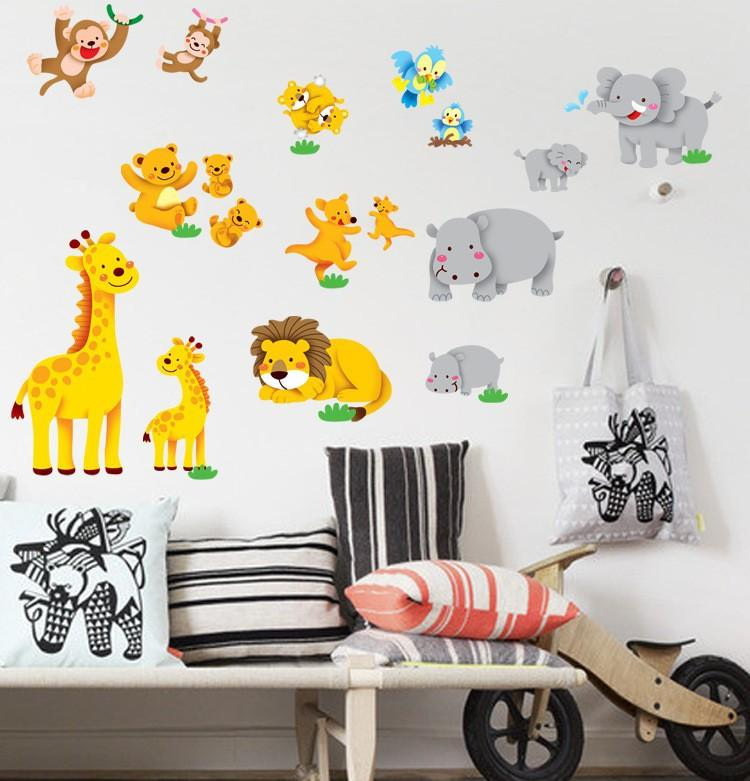 4 Cute Monkeys Wall Decals Sticker Nursery Decor Mural: DM57 0145 Cartoon Cute Animal Monkey Nursery Decor Art