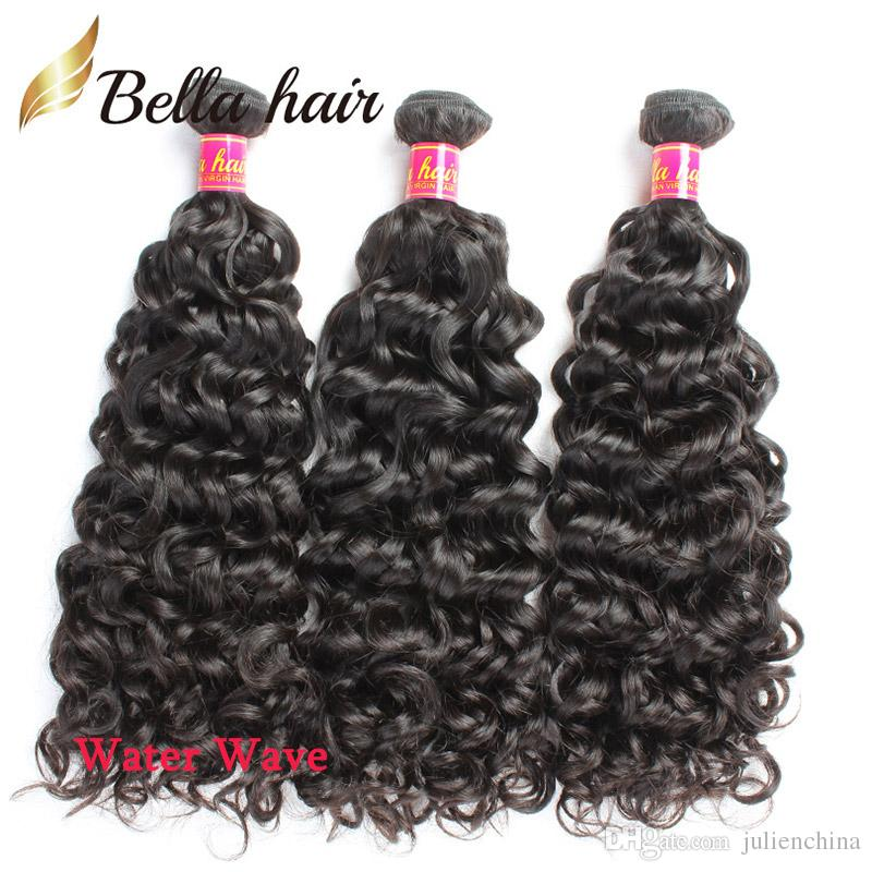 Bella Hair® Muestra al por menor 8-34 pulgadas Paquetes de cabello humano sin procesar Onda de cuerpo recto Suelta Onda de agua profunda y rizada Onda natural