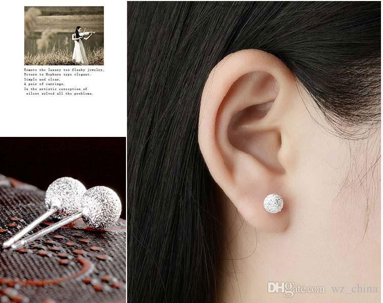 Silver Snowball Stud Earrings Frosted Bead Ear Jewelry Brincos 4mm/5mm/6mm Women Wedding Stud Earrings Boho White Gold Jewelry Fashion Brand