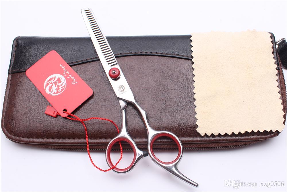 6 ''17,5 cm Japan 440C Laser Rote Schraube Professionelle Menschenhaarscheren Friseurscheren Schneiden oder Ausdünnen Styling Werkzeuge Z1001
