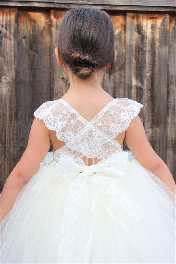 2017 bonito branco marfim flor menina vestidos de flores de renda de tule gola a linha chá comprimento crianças comunhão vestidos de festa para a menina