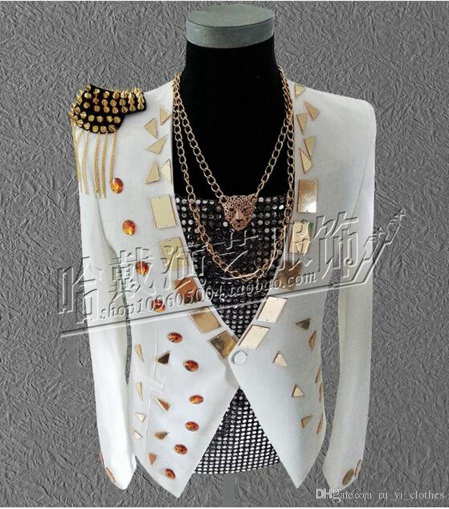 Han édition nouvelle Europe et les États-Unis manteau de la mode masculine costumes costumes de scène discothèque chanteur star performance.S - 5 xl