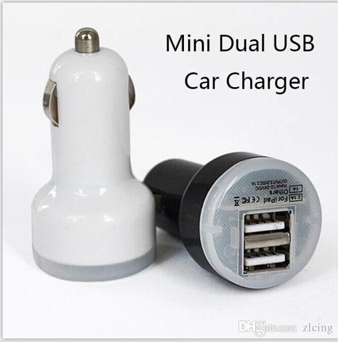 100 unids Dual 2 puertos USB adaptador de cargador de coche para iPhone 7 7 plus 6 6S 5 5S iPad Mini Galaxy S4 S5 S6 S7 Note2 para lenovo