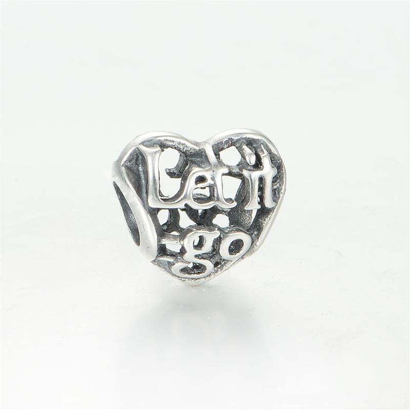 Lascialo andare a Charms Pendants Inspirational Word Charmes Adatto ai braccialetti di gioielli originali S925 Sterling Silver H8