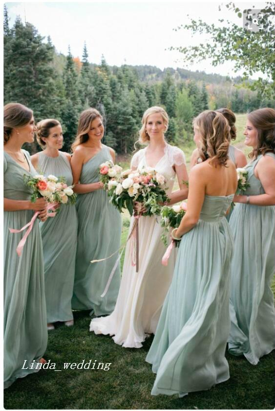 Sage Green Hot Sale New Arrival 3 Styles Long Chiffon Women Bridesmaids Dresses Wedding Party Gowns