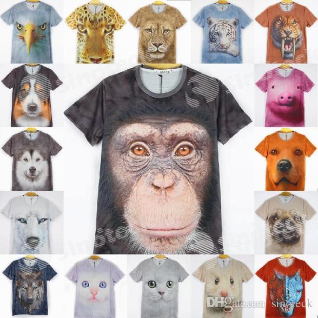 Hot Sales! 3d Animals Print T Shirts For Men Big Face Tees Short ...