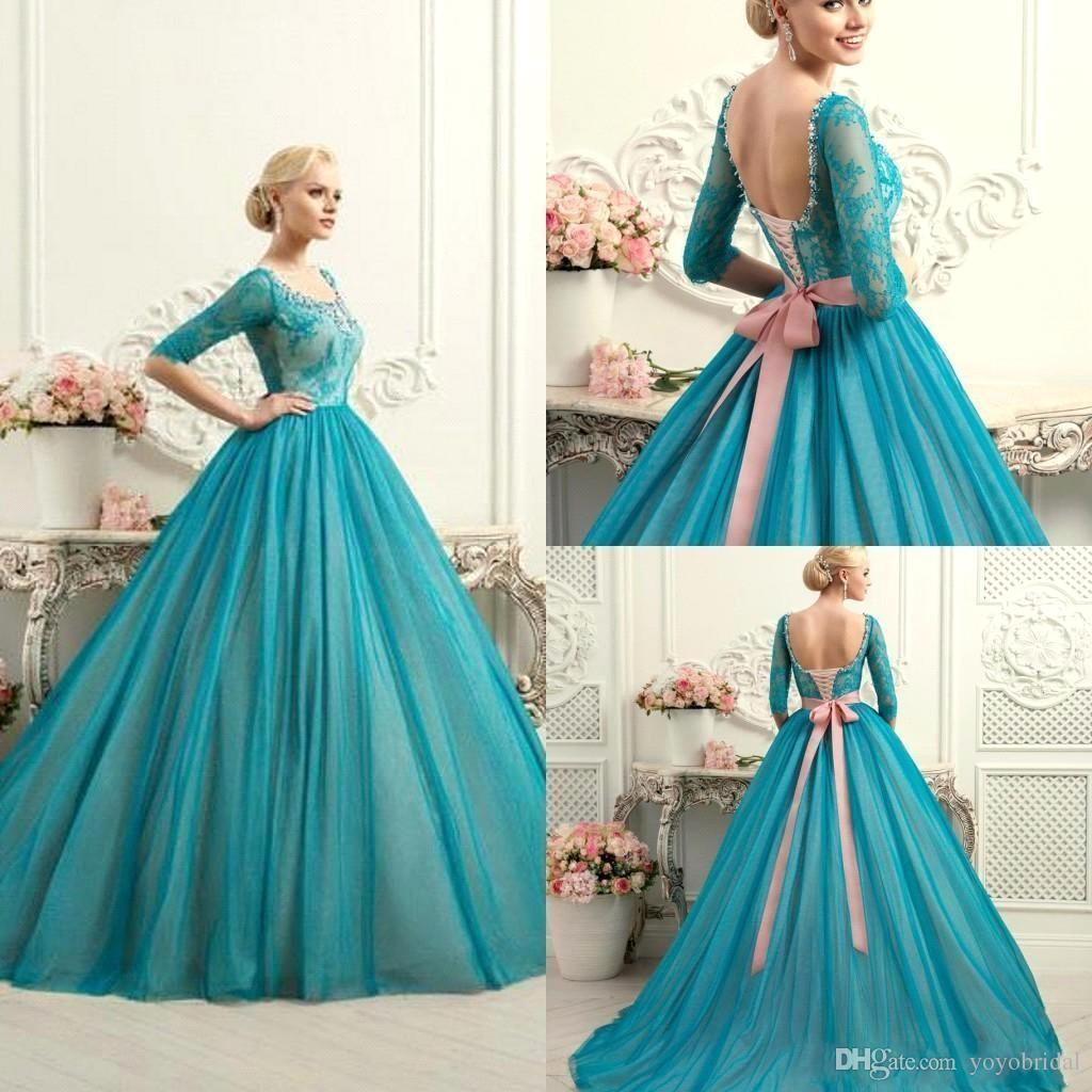 Modest teal quinceanera dresses square neck half long for Places to buy wedding dresses near me