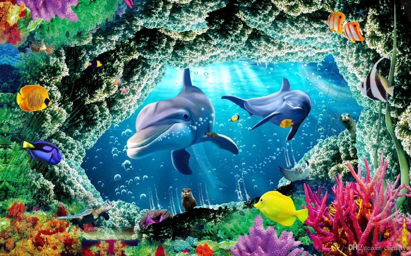 Custom Large Murals Fabric Wallpaper 3d Wall Paper Sitting Room Bedroom Tv  Sofa Background Under Sea World Cute Dolphins Seafloor Rock Hole Wallpapers  Hq ... Part 26