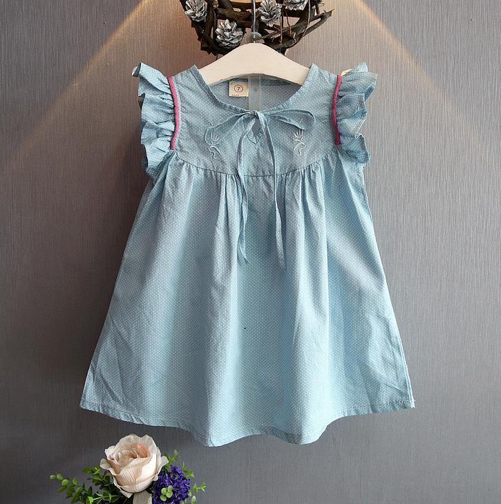 2017 2016 Summer Girls Cotton Dress Kids Baby Doll Dress Dots ...