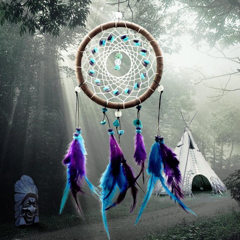 Wind Chimes Estilo indiano pena pendente de Dream Catcher Home Decor Decoração Hanging presente agradável