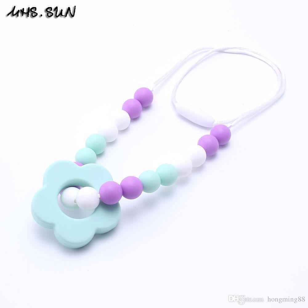 Moda diy bebé masticar collar de dentición joyería de enfermería collar de mordedor flor de silicona de calidad alimentaria mami a usar bebé a la dentición