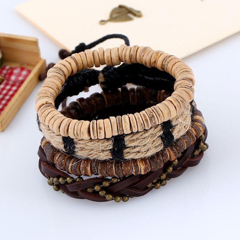 Fashion Jewelry Woven Leather Hemp Rope Bracelets Men's Wooden Beaded Bracelet Sets Vintage Personality Casual Rock Punk Bracelet BH010