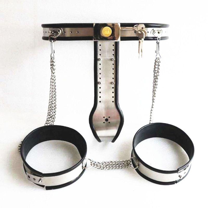 Stainless Steel Chastity Belt Bondage Collar Chastity Belt Male Chastity Device Handcuffs for Men G7-4-27