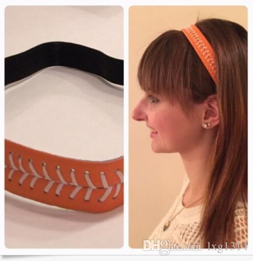 HOT 2016 Europe and America new design cheap headband red stitching yellow softball leather headband wholesale sports