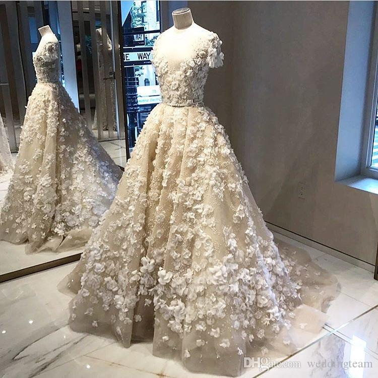 Elie Saab 3D abiti da sposa appliqued con maniche corte in rilievo A Line Square Neck Abiti da sposa Vestido De Novia Sweep Train Wedding Dress