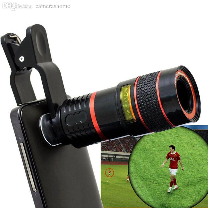 Wholesale-2016 Hot 8X Zoom Clip-on Telescope Camera Optical Lens For Various Cell Phone for iPhone 6 For  Smart Phone Telescope
