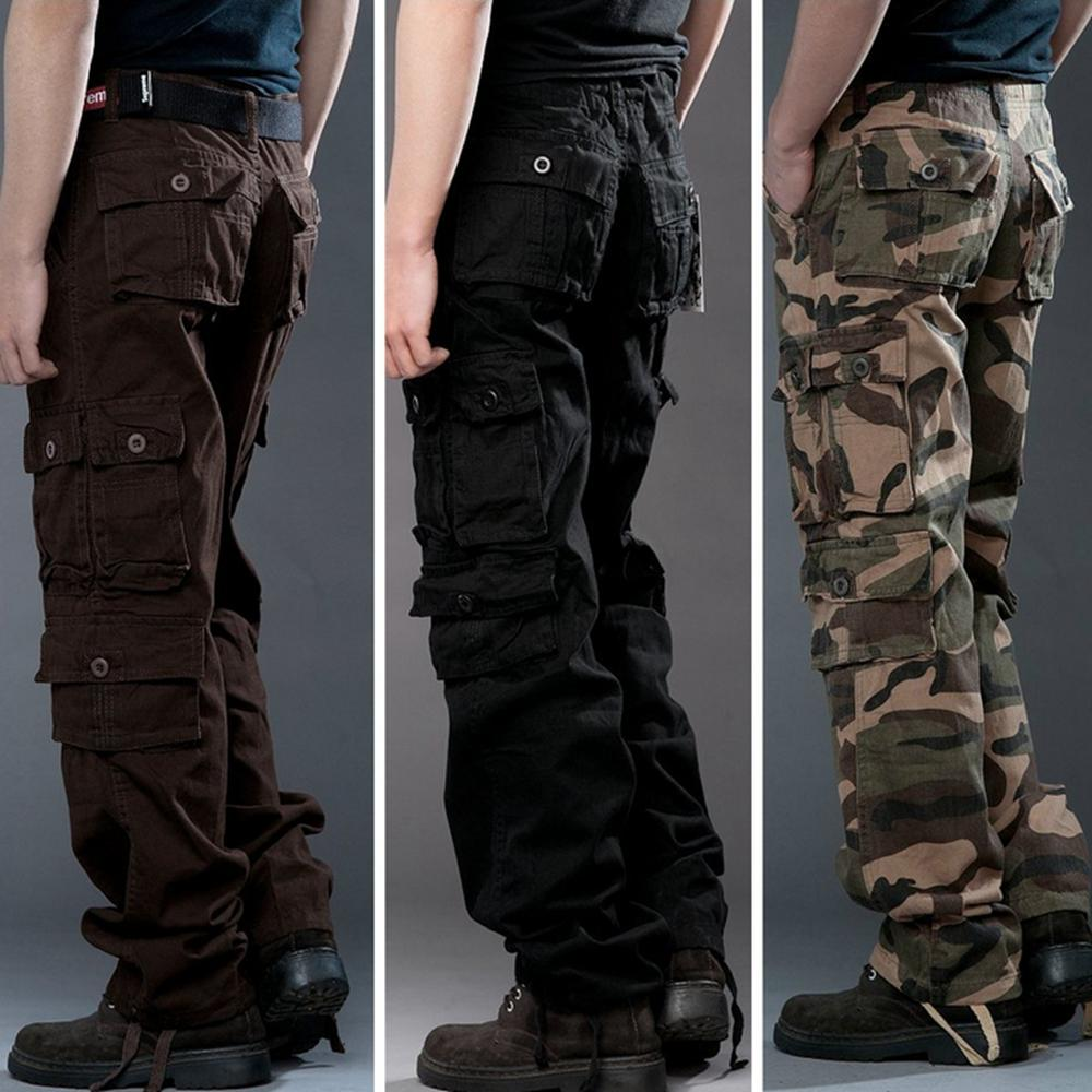 8167bf386db9ef 2019 High Quality Mens Cargo Pants Cotton Casual Pants Combat Trousers  Camouflage Army Trousers Plus Size Men Military Pants Multi Pockets 29 38  From ...