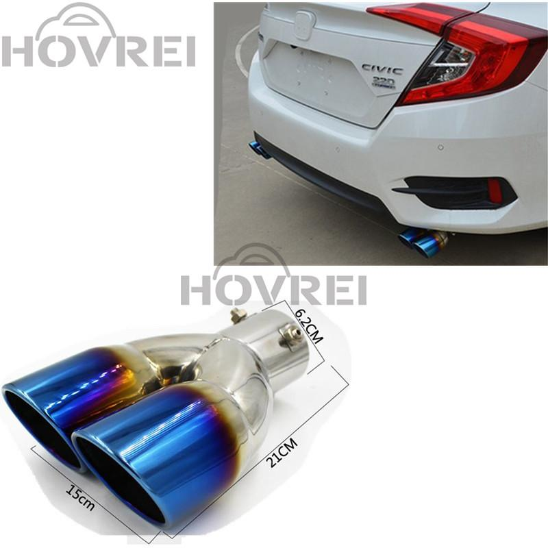 2018 Car Stainless Steel 1 To 2 Dual Exhaust Pipe Mufflers Tip For Honda Civic 10th 2016 2017 Rear Tail Throat Exhause From Seasonyi1: Civic Stainless Exhaust At Woreks.co