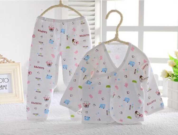 Wholesale cotton newborn baby clothes set infant girls boys soft clothing set 0-3 Months 2 styles
