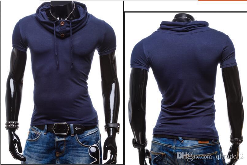 새로운 봄 여름 2016 순수한 색 반소매 티셔츠와 후드 근육맨 반팔 T 셔츠