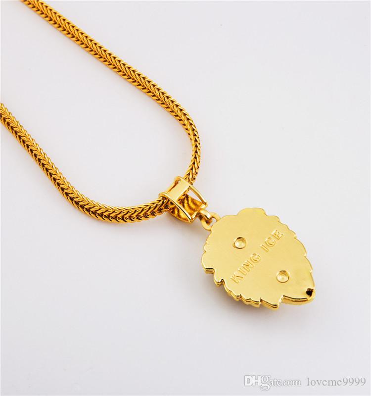 Высокое качество 18 К позолоченные мужские хип-хоп голова льва ледяной кристалл горного хрусталя ожерелье рэп золотой кулон короли льва змея цепи ожерелье