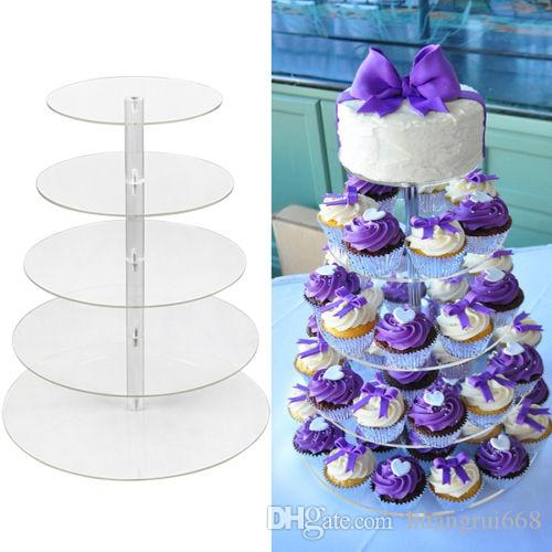 2019 5 Tier Clear Acrylic Round Cupcake Stand Wedding Birthday Cake Display Tower From Huangrui668 2814