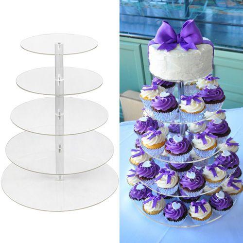 Grosshandel 5 Tier Klar Acryl Runde Cupcake Stand Hochzeit Geburtstag