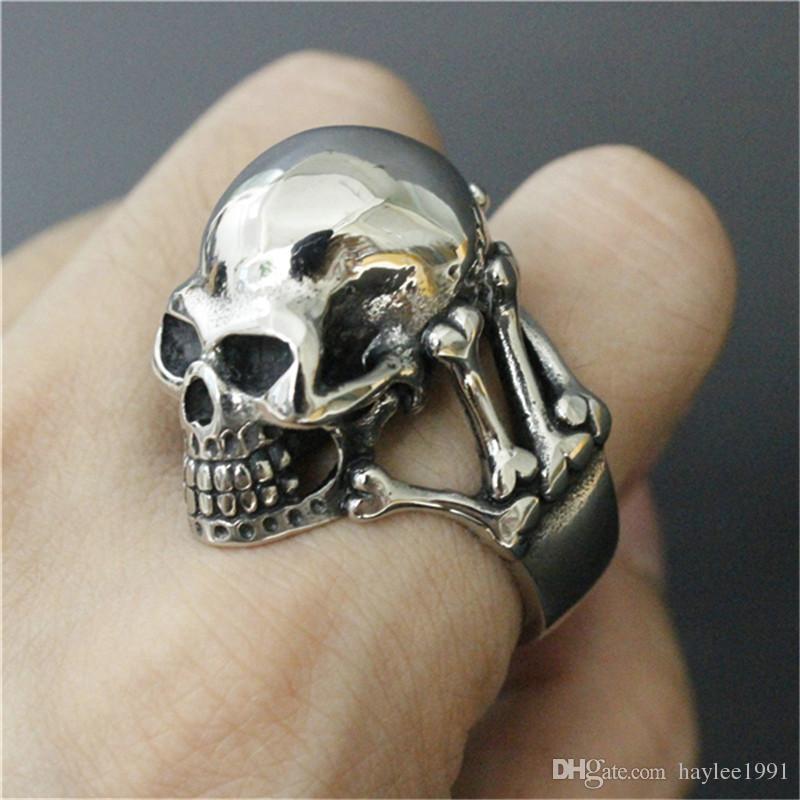 3 unids / lote Nueva Llegada Heavy Ghost Skull Ring 316L Joyería de Moda de Acero Inoxidable Band Party Skull Cool Man Ring