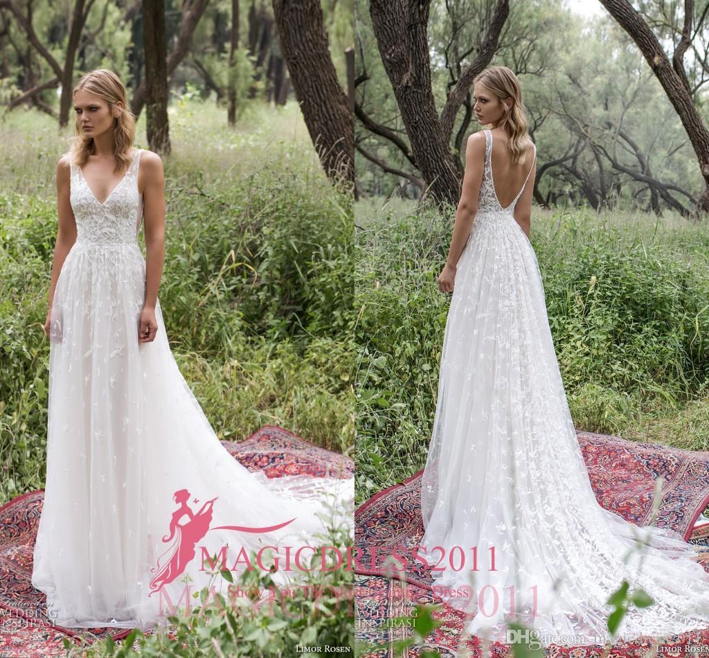 2017 Sheath Wedding Dresses For Greek Goddess Simple: Romantic Limor Rosen 2017 Sheath Wedding Dresses Deep V