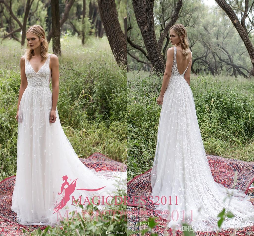 Romantic Limor Rosen 2017 Sheath Wedding Dresses Deep V Neck Sheer Straps  Heavy Embellishment Lace Vintage Garden Beach Bridal Gowns Wedding Dresses  With ... 8fb0375ce9d4
