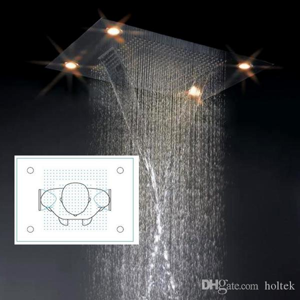 "Large Rain Shower 24x31"" Bathroom Ceiling Electric Led Multi Color Remote Control ShowerHeads Rainfall Curtain Waterfall Shower"