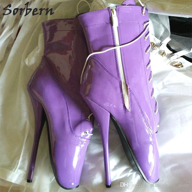 Hot Black Lackleder Ballett Ferse Boot Schuhe Ultra High Heel 18 Cm / 7