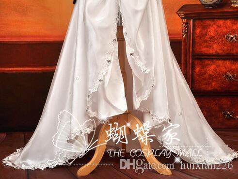 Kostenloser Versand Anime Vocaloid Cosplay miku weißes langes Kleid Loro Rita Mädchen Halloween Kostüm für Frauen für Party / Weihnachten
