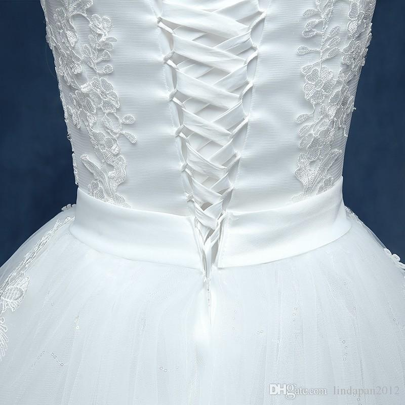 2016 New Style V-Neck Sweep Brush Train Tank Sleeve Style White Flower Shoulder Wedding Dress Custom MadeT1619