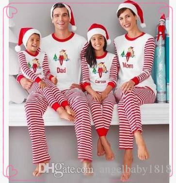 fb9bc8dfc Christmas Pajamas Family Matching Clothes Striped Xmas Pajamas Sets ...
