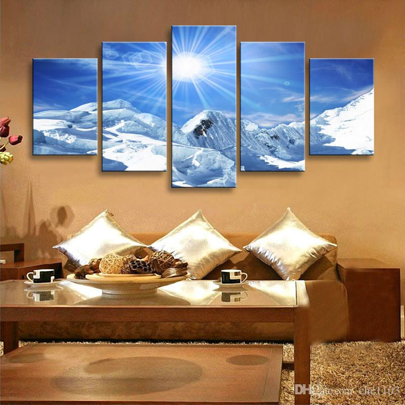 high-definition print Snow mountain scenery canvas oil painting poster and wall art living room picture PL5-209