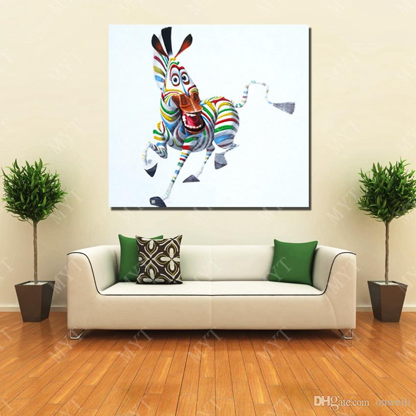 Hand painted 100% Cartoon animal subjects cheap modern paintings abstract home decor funny animal zebra oil painting