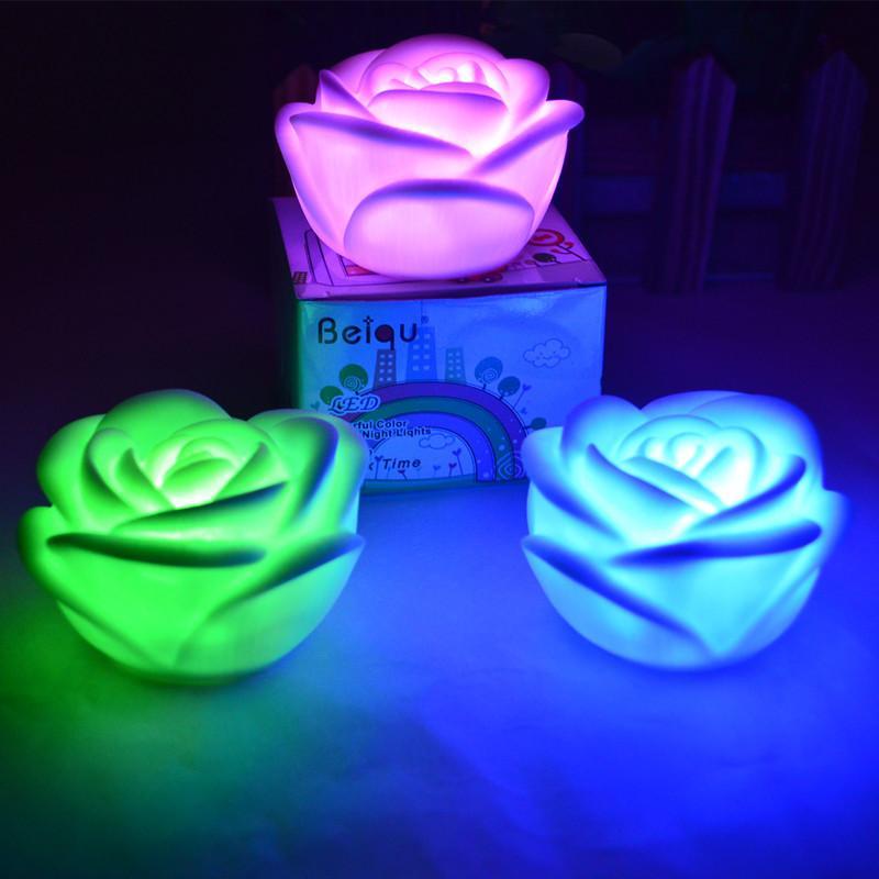 Gece Lambası Yeni Düğün Dekor 7 Renk Değişimi Güzel Led Gece Lambası Işık Çocuk Hediye Oyuncak Kristal Kare Küçük Led Gömme Aydınlatma