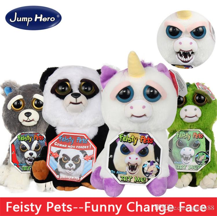 100% Original Jump Hero Feisty Funny Expression Pets Plush Toy 20 Type Feisty Pets Funny Change Face Kids Cute Prank Toy Best Gift