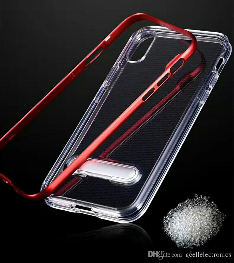 Clear Hybrid PC+TPU Cell Phone Cases For Samsung Galaxy S20 Plus Ultra Note 10 Iphone SE 2 11 Pro Kickstand Holder Mobile Case