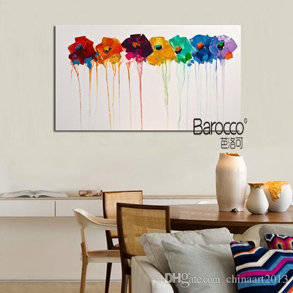 Stile moderno moderno fiori colorati 100% dipinto a mano olio su tela dipinti murali su tela la decorazione domestica