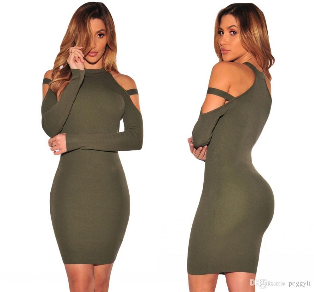 Army Burgundy Bodycon Sweater Dresses For Women 2017 Solid Wine