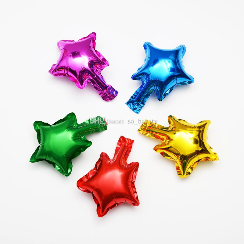 Star Shape Foil Helium Balloon Anniversary Decor 5 inch Red Blue Green Purple Gold Silver Color
