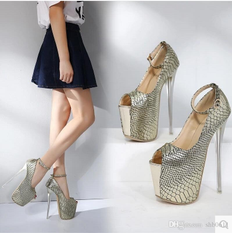 2017 new sexy women pumps high patent leather snake color fastening 18cm high heel fish-mouth women's shoes cheap 2015 zFwSCz