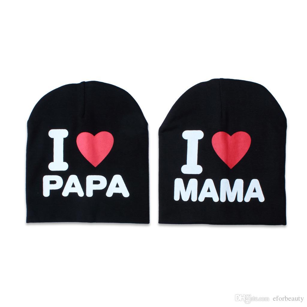 Art und Weise neugeborenes Baby-Hut strickte warme Baumwollmützen Säuglingskindermädchen-Junge, den ich Mama / Papa gedruckte Baumwollmütze lieben